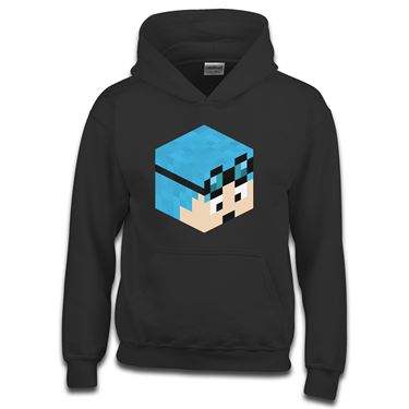 Picture of Dantdm Dan The Diamond Minecart Blue Hair Player Skin 3D Head Right Pose Boys Hoodie