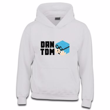Picture of Dantdm Dan The Diamond Minecart Blue Hair Player Skin 3D Head Left Pose And Black Text Boys Hoodie