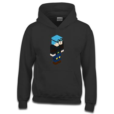Picture of Dantdm Dan The Diamond Minecart Blue Hair Player Skin 3D Standing Right Pose Boys Hoodie