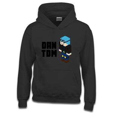 Picture of Dantdm Dan The Diamond Minecart Blue Hair Player Skin 3D Standing Left Pose And Black Text Boys Hoodie