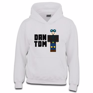 Picture of Dantdm Dan The Diamond Minecart Blue Hair Player Skin Standing Pose And Black Text Boys Hoodie