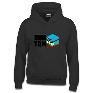 Picture of Dantdm Dan The Diamond Minecart Christmas Player Skin 3D Head Left Pose And Black Text Boys Hoodie