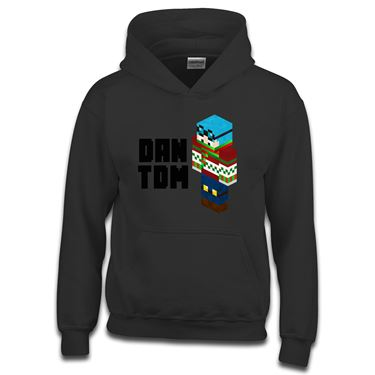 Picture of Dantdm Dan The Diamond Minecart Christmas Player Skin 3D Standing Left Pose And Black Text Boys Hoodie