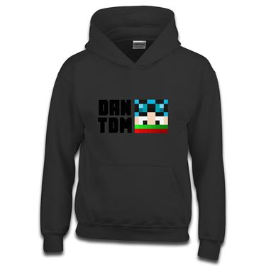 Picture of Dantdm Dan The Diamond Minecart Christmas Player Skin Face And Black Text Boys Hoodie