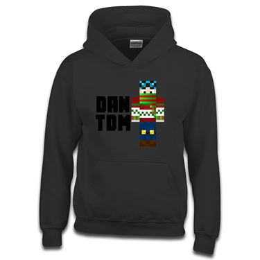 Picture of Dantdm Dan The Diamond Minecart Christmas Player Skin Standing Pose And Black Text Boys Hoodie