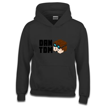 Picture of Dantdm Dan The Diamond Minecart Player Skin 3D Head Left Pose And Black Text Boys Hoodie