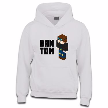 Picture of Dantdm Dan The Diamond Minecart Player Skin 3D Standing Left Pose And Black Text Boys Hoodie