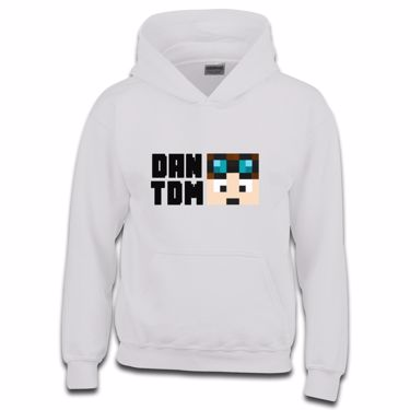 Picture of Dantdm Dan The Diamond Minecart Player Skin Face And Black Text Boys Hoodie