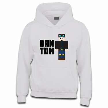 Picture of Dantdm Dan The Diamond Minecart Player Skin Standing Pose And Black Text Boys Hoodie