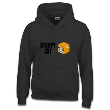 Picture of Stampy Cat Player Skin 3D Head Left Pose And Black Text Boys Hoodie