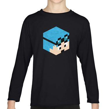 Picture of Dantdm Dan The Diamond Minecart Blue Hair Player Skin 3D Head Right Pose Boys Long Sleeve Tshirt