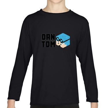 Picture of Dantdm Dan The Diamond Minecart Blue Hair Player Skin 3D Head Left Pose And Black Text Boys Long Sleeve Tshirt