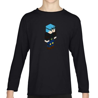 Picture of Dantdm Dan The Diamond Minecart Blue Hair Player Skin 3D Standing Right Pose Boys Long Sleeve Tshirt