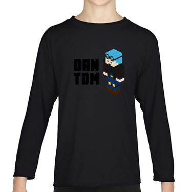 Picture of Dantdm Dan The Diamond Minecart Blue Hair Player Skin 3D Standing Left Pose And Black Text Boys Long Sleeve Tshirt