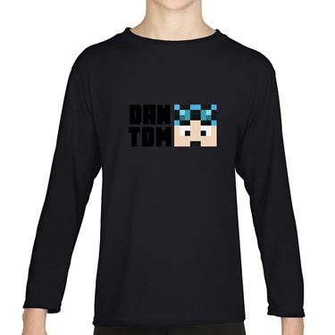 Picture of Dantdm Dan The Diamond Minecart Blue Hair Player Skin Face And Black Text Boys Long Sleeve Tshirt
