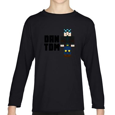 Picture of Dantdm Dan The Diamond Minecart Blue Hair Player Skin Standing Pose And Black Text Boys Long Sleeve Tshirt
