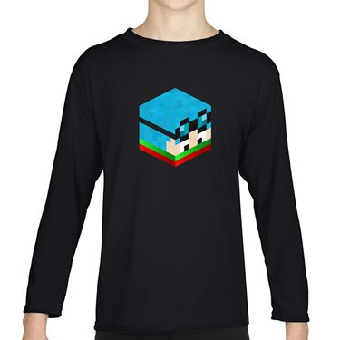 Picture of Dantdm Dan The Diamond Minecart Christmas Player Skin 3D Head Right Pose Boys Long Sleeve Tshirt