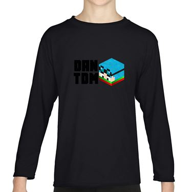 Picture of Dantdm Dan The Diamond Minecart Christmas Player Skin 3D Head Left Pose And Black Text Boys Long Sleeve Tshirt
