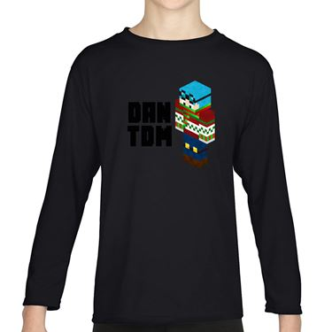 Picture of Dantdm Dan The Diamond Minecart Christmas Player Skin 3D Standing Left Pose And Black Text Boys Long Sleeve Tshirt