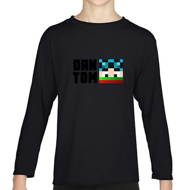 Picture of Dantdm Dan The Diamond Minecart Christmas Player Skin Face And Black Text Boys Long Sleeve Tshirt