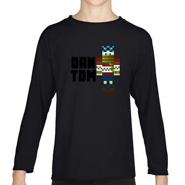 Picture of Dantdm Dan The Diamond Minecart Christmas Player Skin Standing Pose And Black Text Boys Long Sleeve Tshirt