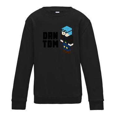 Picture of Dantdm Dan The Diamond Minecart Blue Hair Player Skin 3D Standing Left Pose And Black Text Boys Sweatshirt