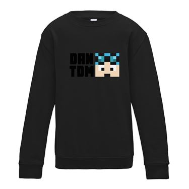 Picture of Dantdm Dan The Diamond Minecart Blue Hair Player Skin Face And Black Text Boys Sweatshirt