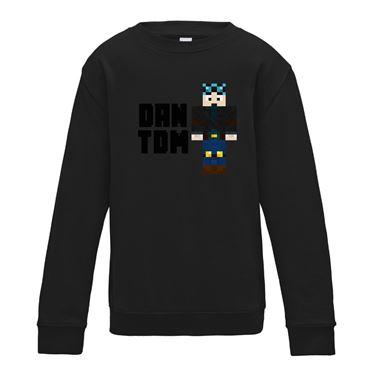 Picture of Dantdm Dan The Diamond Minecart Blue Hair Player Skin Standing Pose And Black Text Boys Sweatshirt