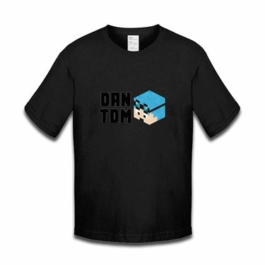Picture of Dantdm Dan The Diamond Minecart Blue Hair Player Skin 3D Head Left Pose And Black Text Boys Tshirt