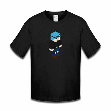Picture of Dantdm Dan The Diamond Minecart Blue Hair Player Skin 3D Standing Right Pose Boys Tshirt