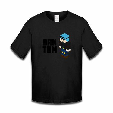 Picture of Dantdm Dan The Diamond Minecart Blue Hair Player Skin 3D Standing Left Pose And Black Text Boys Tshirt