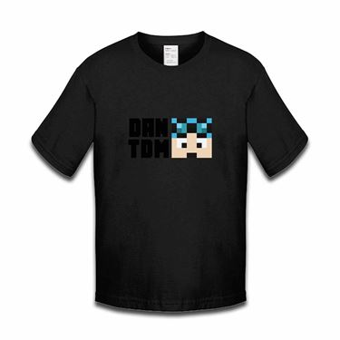 Picture of Dantdm Dan The Diamond Minecart Blue Hair Player Skin Face And Black Text Boys Tshirt