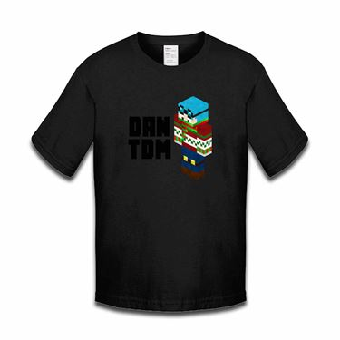 Picture of Dantdm Dan The Diamond Minecart Christmas Player Skin 3D Standing Left Pose And Black Text Boys Tshirt