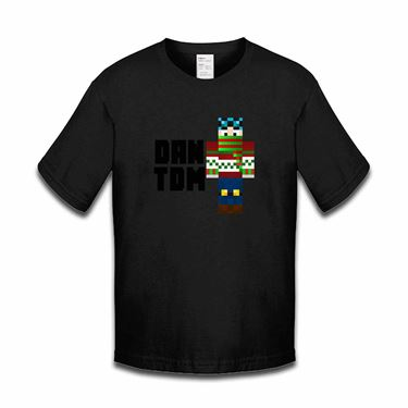 Picture of Dantdm Dan The Diamond Minecart Christmas Player Skin Standing Pose And Black Text Boys Tshirt