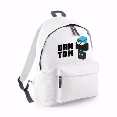 Picture of Dantdm Dan The Diamond Minecart Blue Hair Player Skin 3D Standing Left Pose And Black Text Fashion Backpack