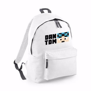 Picture of Dantdm Dan The Diamond Minecart Blue Hair Player Skin Face And Black Text Fashion Backpack
