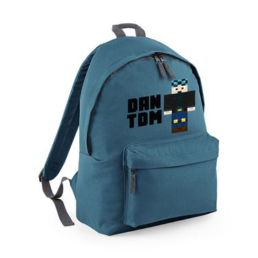Picture of Dantdm Dan The Diamond Minecart Blue Hair Player Skin Standing Pose And Black Text Fashion Backpack
