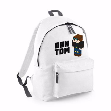 Picture of Dantdm Dan The Diamond Minecart Player Skin 3D Standing Left Pose And Black Text Fashion Backpack