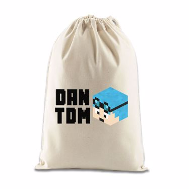 Picture of Dantdm Dan The Diamond Minecart Blue Hair Player Skin 3D Head Left Pose And Black Text Gift Bag