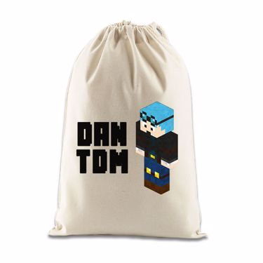 Picture of Dantdm Dan The Diamond Minecart Blue Hair Player Skin 3D Standing Left Pose And Black Text Gift Bag