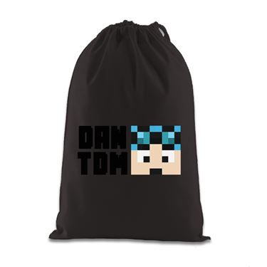 Picture of Dantdm Dan The Diamond Minecart Blue Hair Player Skin Face And Black Text Gift Bag