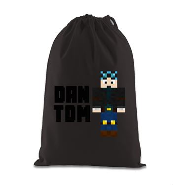 Picture of Dantdm Dan The Diamond Minecart Blue Hair Player Skin Standing Pose And Black Text Gift Bag