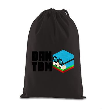 Picture of Dantdm Dan The Diamond Minecart Christmas Player Skin 3D Head Left Pose And Black Text Gift Bag