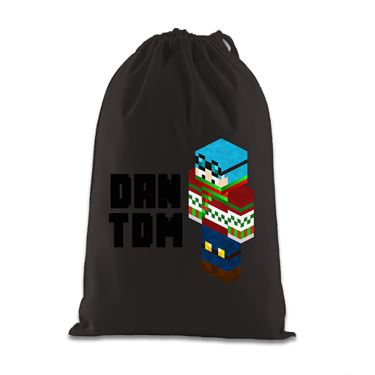 Picture of Dantdm Dan The Diamond Minecart Christmas Player Skin 3D Standing Left Pose And Black Text Gift Bag