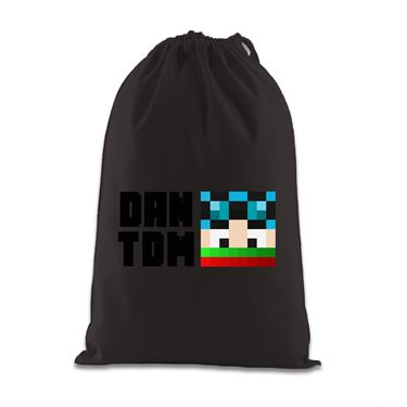 Picture of Dantdm Dan The Diamond Minecart Christmas Player Skin Face And Black Text Gift Bag