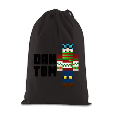 Picture of Dantdm Dan The Diamond Minecart Christmas Player Skin Standing Pose And Black Text Gift Bag