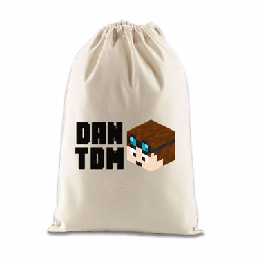 Picture of Dantdm Dan The Diamond Minecart Player Skin 3D Head Left Pose And Black Text Gift Bag