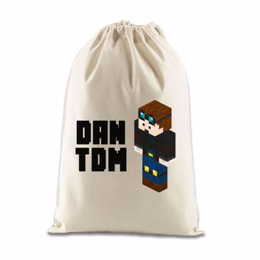Picture of Dantdm Dan The Diamond Minecart Player Skin 3D Standing Left Pose And Black Text Gift Bag