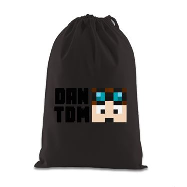 Picture of Dantdm Dan The Diamond Minecart Player Skin Face And Black Text Gift Bag