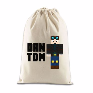 Picture of Dantdm Dan The Diamond Minecart Player Skin Standing Pose And Black Text Gift Bag